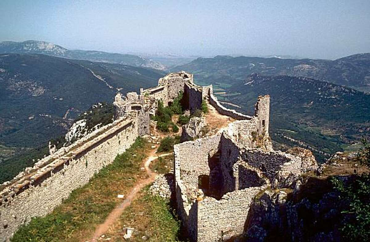 Castle ruins can offer jaw-dropping views, like this one at Chateau of Peyrepertuse in the French Pyrenees.