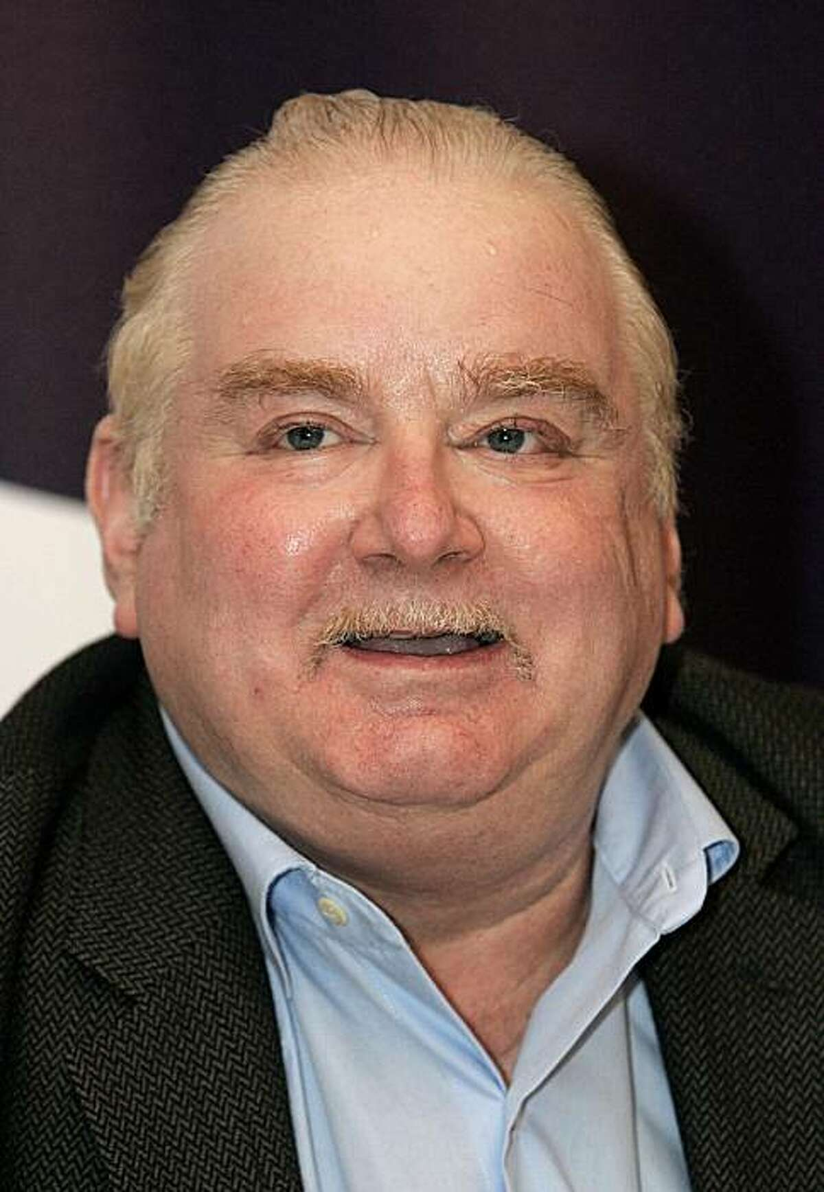 Moscow, RUSSIAN FEDERATION: British writer Peter Ackroyd speaks to a media, during a press conference in Moscow, 16 August 2006. AFP PHOTO / MAXIM MARMUR (Photo credit should read MAXIM MARMUR/AFP/Getty Images)