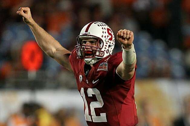 MIAMI, FL - JANUARY 03:  Andrew Luck #12 of the Stanford Cardinal celebrates after he threw a 38-yard touchdown pass in the fourth quarter against the Virginai Tech Hokies during the 2011 Discover Orange Bowl at Sun Life Stadium on January 3, 2011 in Miami, Florida. Stanford won 40-12. Photo: Streeter Lecka, Getty Images
