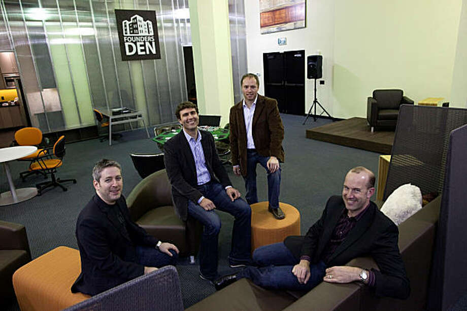 (L-R)  Jonathan Abrams,  Zachary Bogue, Jason Johnson and Michael Levit, managing partners and co-founders of Founders Den, pose for a photograph inside Founders Den on January 7, 2011 in San Francisco, Calif.  Photograph by David Paul Morris/Special to the Chronicle Photo: David Paul Morris, Special To The Chronicle