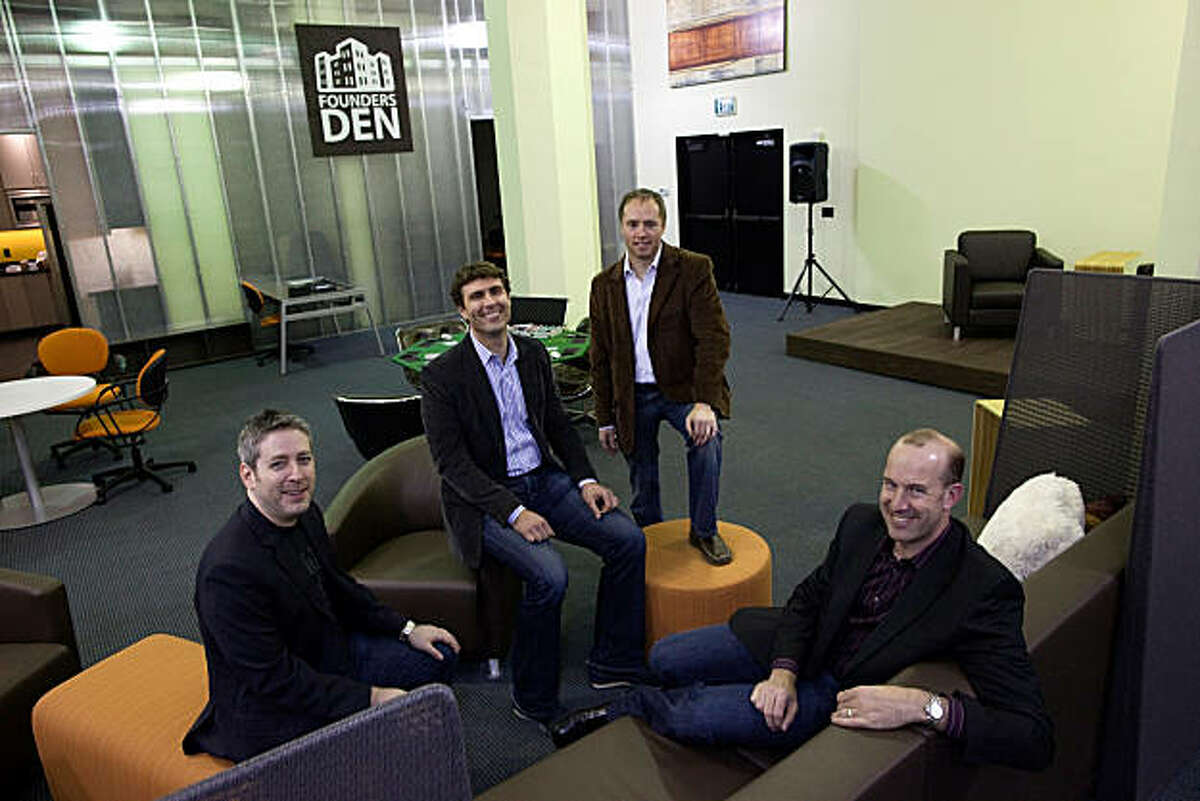 (L-R) Jonathan Abrams, Zachary Bogue, Jason Johnson and Michael Levit, managing partners and co-founders of Founders Den, pose for a photograph inside Founders Den on January 7, 2011 in San Francisco, Calif. Photograph by David Paul Morris/Special to the Chronicle