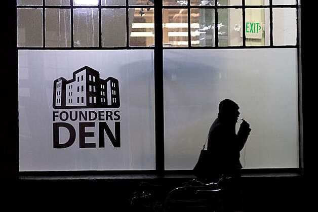 A man walks past the front of the Founders Den on January 7, 2011 in San Francisco, Calif.  Photograph by David Paul Morris/Special to the Chronicle Photo: David Paul Morris, Special To The Chronicle
