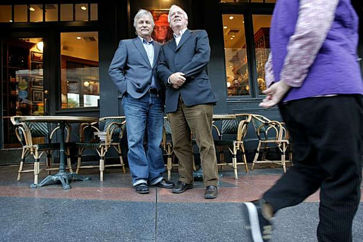 David Talbot (left) and his brother Stephen Talbot stand outside Cafe Zoetrope in San Francisco, Calif., on Nov. 12, 2010.