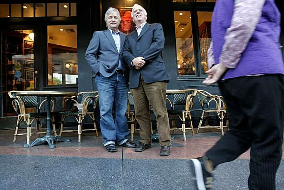 David Talbot (left) and his brother Stephen Talbot stand outside Cafe Zoetrope in San Francisco, Calif., on Nov. 12, 2010. Photo: Michelle Gachet, The Chronicle