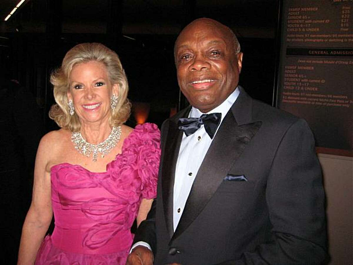 Fine Arts Museum Board President Dede Wilsey and Willie Brown at the de Young Museum's 5th Anniversary. October 2010. By Catherine Bigelow.