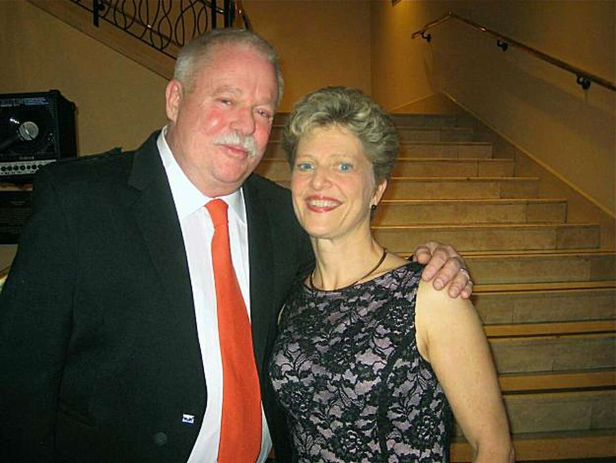 Armistead Maupin and Carey Perloff at ACT Directors Circle Dinner. Jan 2011. By Catherine Bigelow.