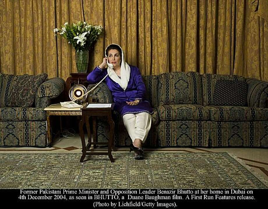 Former Pakistani Prime Minister and Opposition Leader Benazir Bhutto at her home in Dubai on 4th December 2004, as seen in BHUTTO, a  Duane Baughman film. A First Run Features release. Photo: Lichfield, Lichfield/Getty Images