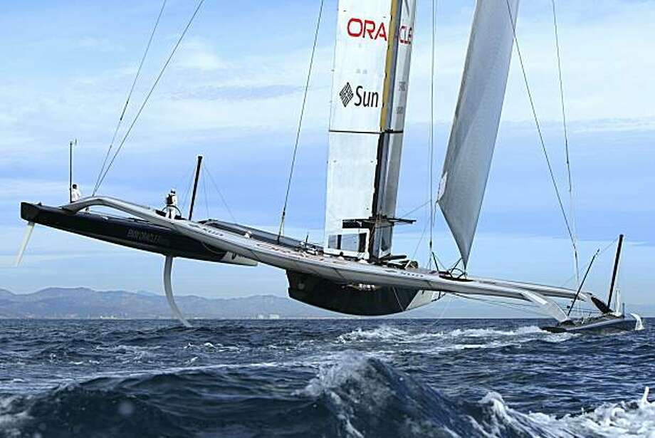 BMW Oracle's BOR 90 boat sails near Valencia, Spain, on Sunday, Feb. 7, 2010. The 33rd America's Cup is scheduled to start Feb. 8. Photo: Victor R. Caivano, AP