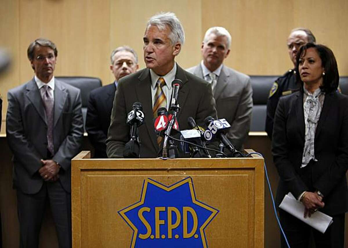 San Francisco Police Chief George Gascon addresses the press on Tuesday about an SFPD lab technician that has been arrested on suspicion of stealing drugs seized as evidence in several criminal investigations. The chief, flanked by SF District Attorney Kamala Harris and other law enforcement brass at, spoke about the thefts jeopardizing a number of cases in which the evidence no longer exists.