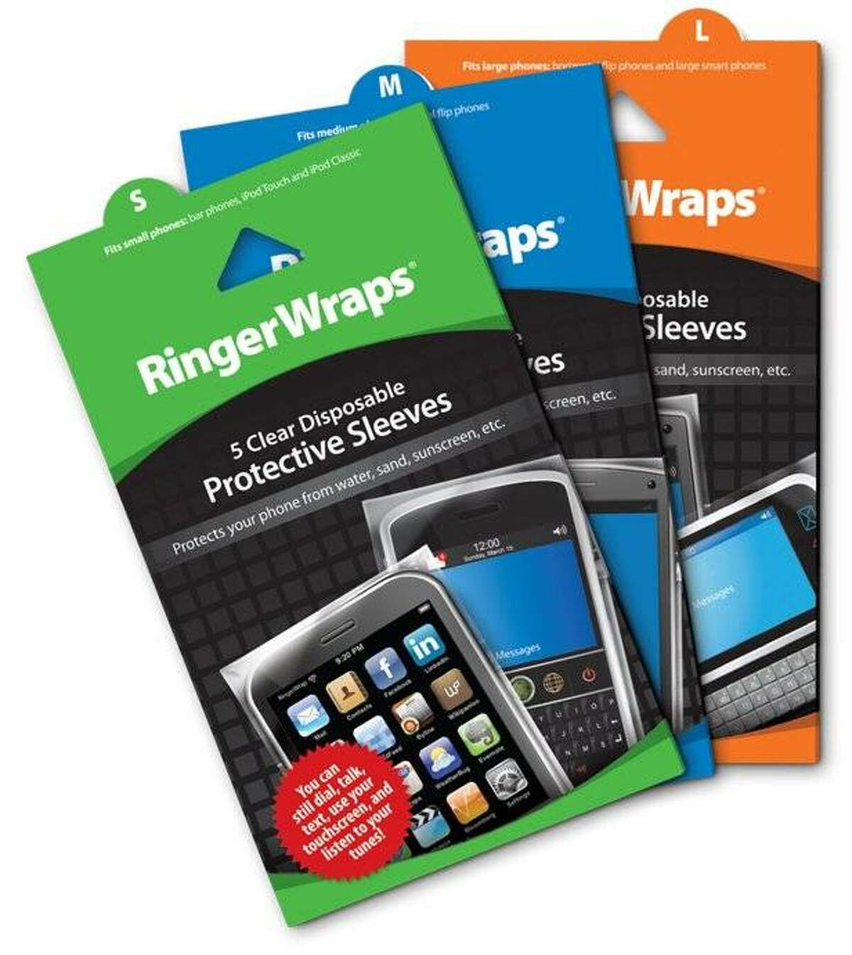 RingerWraps are clear, disposable sleeves that keep mobile phones dry in wet conditions.