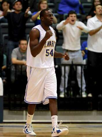 St. Mary's Isaiah Matthews (54) celebrates as he walks off the court at the end of a Heartland Conference Men's Basketball game between St. Mary's University and Dallas Baptist at Bill Greehey Arena In San Antonio, Texas on January 9, 2012. John Albright / Special to the Express-News. Photo: Express-News