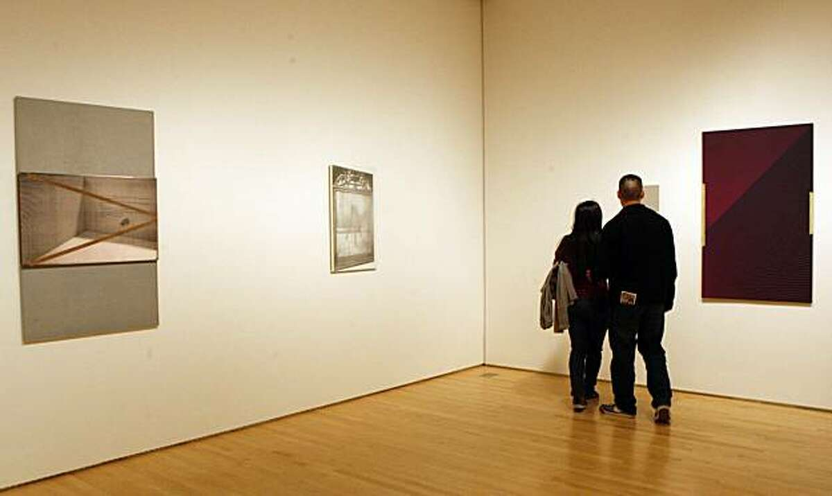 R. H. Quaytman's exhibition titled I Love--The Eyelid Clicks/I See/Cold Poetry, Chapter 18, 2010, on the walls of the San Francisco Museum of Modern Art in San Francisco, Calif., on Tuesday, January 4, 2011. Quaytman used photographs in SFMOMA's collection that explore the poems of Jack Spicer, a local poet associated with the San Francisco renaissance of the 1950s and 1960s.