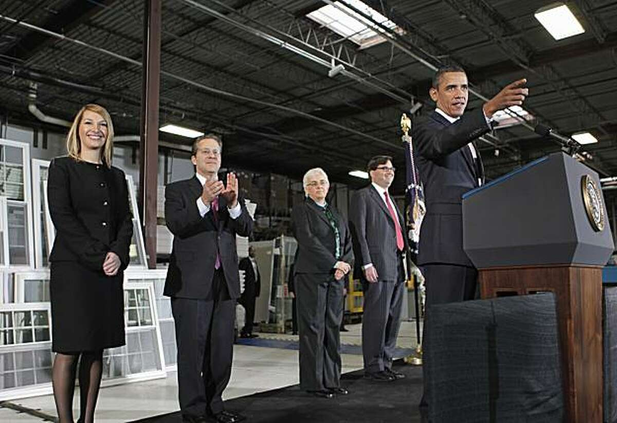 President Barack Obama announces Gene Sperling, second from left, as the new head of the National Economic Council, along with other members of his his economic team, during comments on nation's latest unemployment reports, at Thompson Creek Manufacturingin Landover, Md., Friday, Jan. 7, 2011. From left are: Heather Higginbottom, to be deputy director of the Office of Management and Budget; Sperling; the president; Katharine G. Abraham to the Council of Economic Advisers, and Jason Furman to deputy at the NEC.