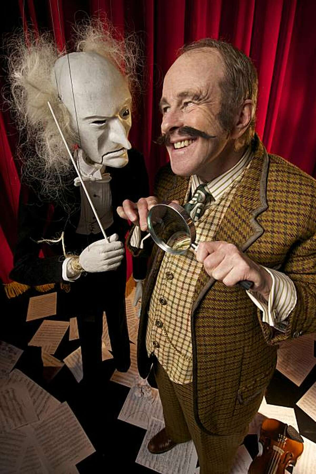 Geoff Hoyle plays an inspector investigating a crime in an orchestra of marionettes in