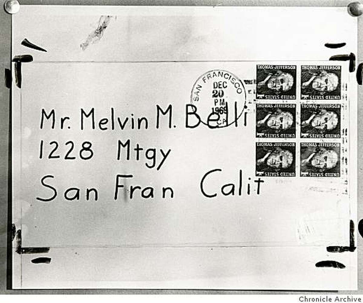 Envelope which contained a zodiac letter to attorney Melvin Belli on Dec. 20, 1969.