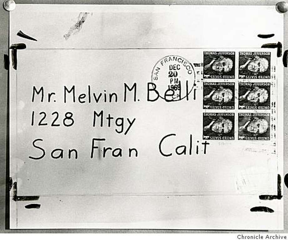The envelope which contained a Dec. 1969 Zodiac letter to San Francisco attorney Melvin Belli. Photo: The Chronicle, Chronicle Archive