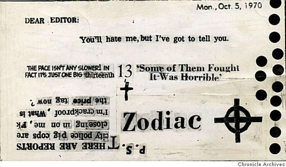 Zodiac killer card sent to Chronicle on Oct. 12, 1970  From Chronicle archives Photo: From Chronicle Archives