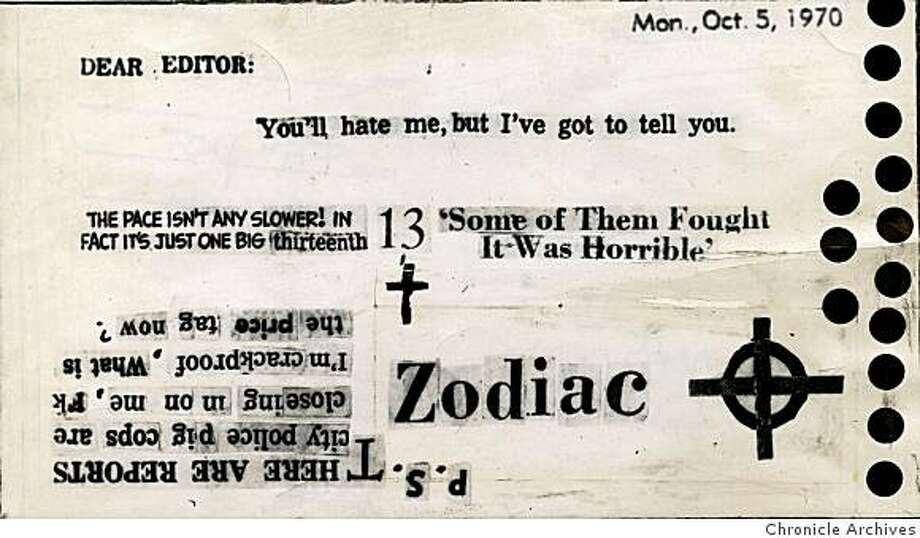 Zodiac killer card sent to Chronicle on Oct. 12, 1970  From Chronicle archives Photo: From Chronicle Archives
