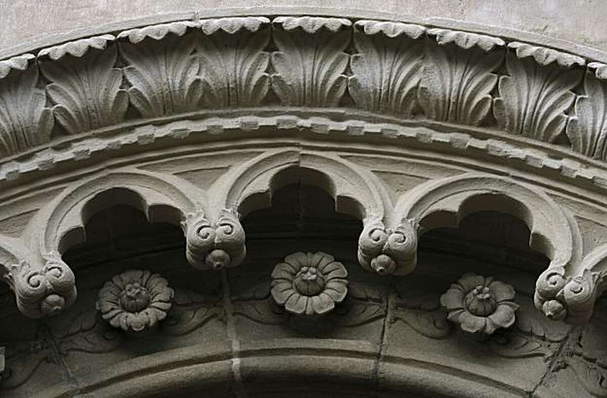 Recently-restored detail is seen above the entrance to the Berkeley City Club in Berkeley, Calif., on Tuesday, Dec. 21, 2010. The Gothic-style building, designed by famed architect Julia Morgan in 1929, was originally built for the Berkeley Women's City Club.