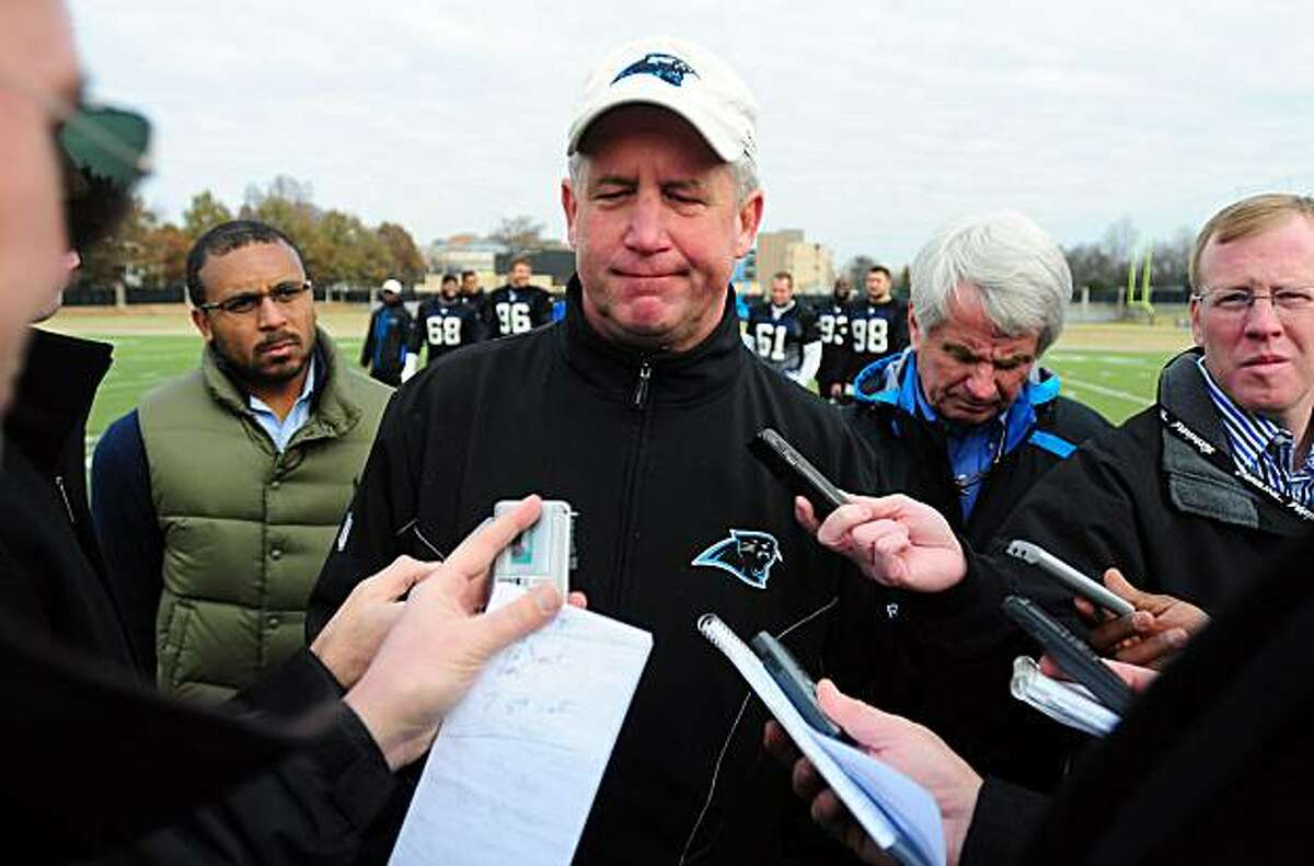 Carolina Panthers coach John Fox answers questions from reporters following the NFL football team's practice Friday, Dec. 31, 2010, in Charlotte, N.C. Carolina plays in Atlanta against the Falcons on Sunday.