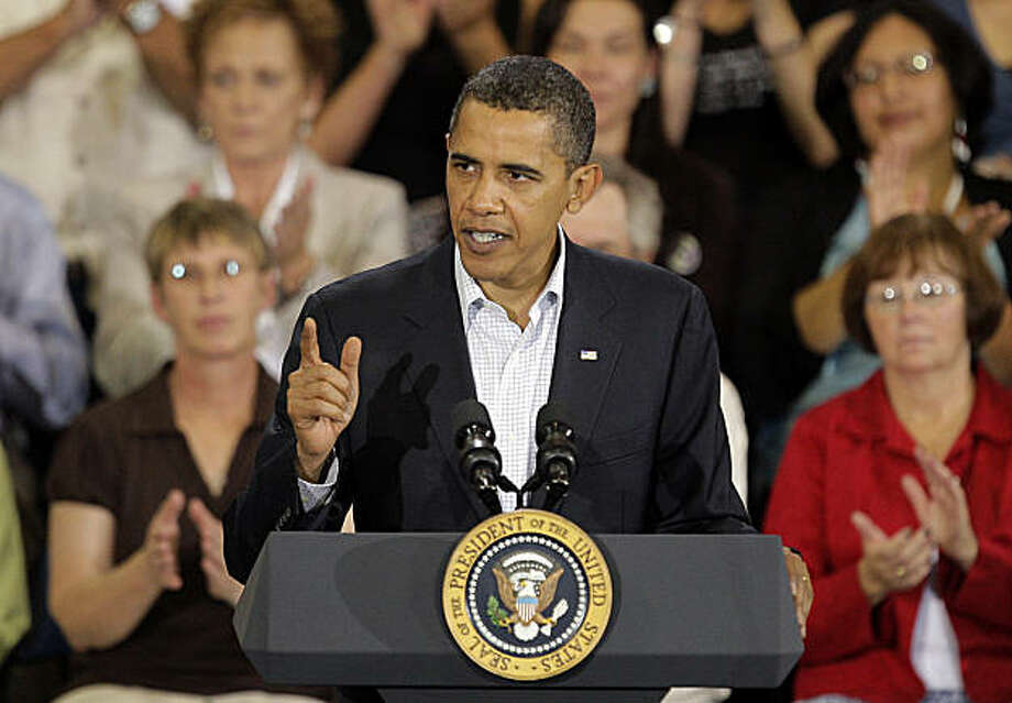President Barack Obama speaks about health care at a town hall meeting in Belgrade, Mont., Friday, Aug. 14, 2009. (AP Photo/Jae C. Hong) Photo: Jae C. Hong, AP