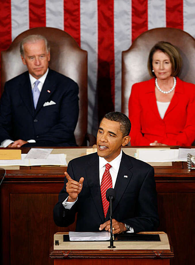 WASHINGTON - SEPTEMBER 09:  U.S. President Barack Obama addresses a joint session of the U.S. Congress at the U.S. Capitol with U.S. Vice President Joe Biden (L) and Speaker of the House Rep. Nancy Pelosi (D-CA) (R) behind him September 9, 2009 in Washington, DC. Obama addressed the joint session to urge passage of his national health care plan, the centerpiece of his domestic agenda.  (Photo by Alex Wong/Getty Images) Photo: Alex Wong, Getty Images