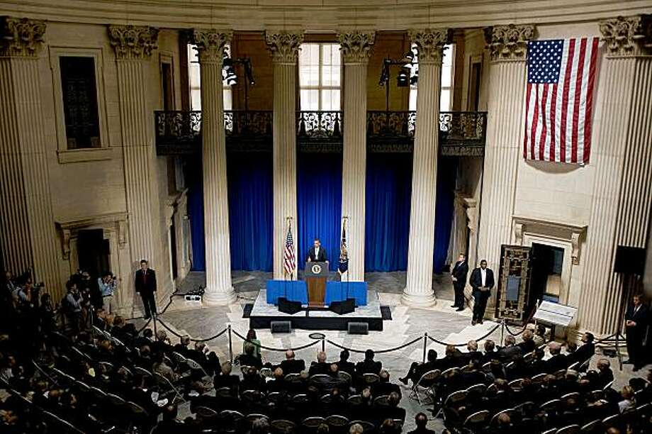 "US President Barack Obama delivers a major speech on the finacial crisis at Federal Hall in New York, NY,  September 14, 2009. Obama on Monday warned Wall Street it must not return to the ""reckless behavior"" and ""unchecked excess"" which he blamed for unleashing the global financial crisis.The president, in a major economic speech at the heart of the mighty US financial system just blocks from the New York Stock Exchange, laid out a wide ranging prescription for rebuilding the US finance system. He said the crisis was a ""collective failure"" of Washington, Wall Street and across America, vowed to press G20 powers for action on regulatory reform, and cautioned top executives not to squander public trust with huge bonuse  AFP PHOTO/Jim WATSON (Photo credit should read JIM WATSON/AFP/Getty Images) Photo: Jim Watson, AFP/Getty Images"