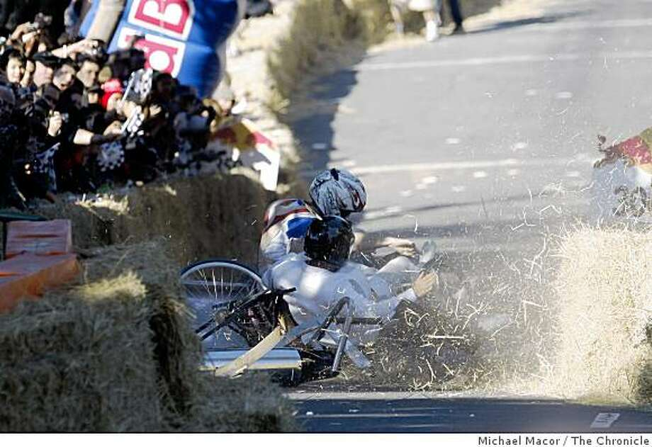 """""""The Breakfast Club"""" crashes during the Red Bull Soapbox Derby Saturday, Oct. 18 in San Francisco. Photo: Michael Macor, The Chronicle"""