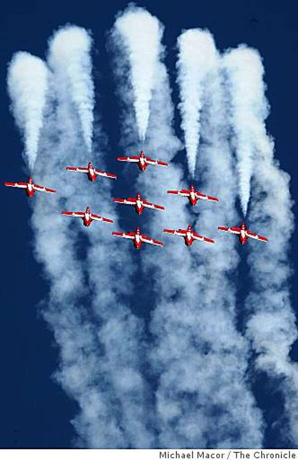 The Canadian Forces Snowbirds flying team perform their routine on Saturday. Photo: Michael Macor, The Chronicle