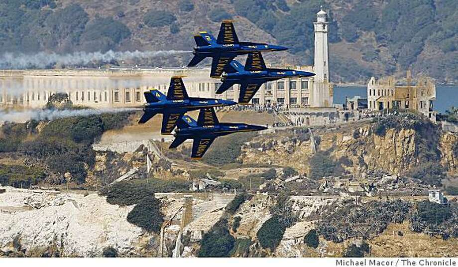 The Navy Blue Angels flying past Alcatraz Island while formation as they practice over San Francsico Bay on Thursday Oct. 9, 2008 in preparation of their performance over the weekend as part of this years' Fleet Week activities. Photo: Michael Macor, The Chronicle