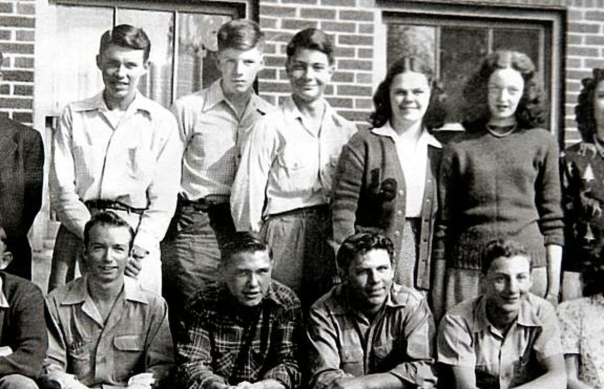 This is a 1948 class portrait from Lynn High School. Jim Jones is third form the left in the back row.Photo Courtesy Joyce Overman Bowman