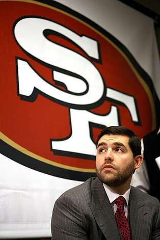 The San Francisco 49ers' CEO and team president Jed York looks on after introducing their new interim head coach,  Jim Tomsula  at a press conference at team headquarters, Monday, Dec.  27, 2010 in Santa Clara, Calif. Tomsula will replace Mike Singletary, Photo: Dino Vournas, AP