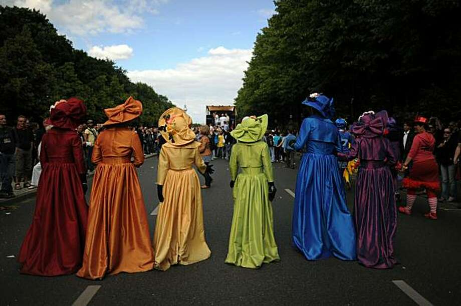 Participants of the Christopher Street Day (CSD) gay pride parade celebrate in Berlin on June 19, 2010. Gays and lesbians around the world celebrate the Christopher Street Day (CSD) gay and lesbian pride parade, arguably the most important date in their calendar. Photo: Johannes Eisele, AFP/Getty Images