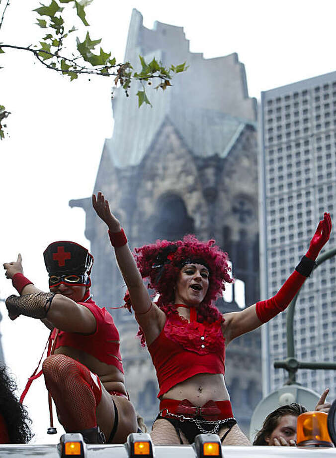 Dancers celebrate at the Christopher Street Day parade in Berlin, on Saturday, June 19, 2010. Photo: Markus Schreiber, AP