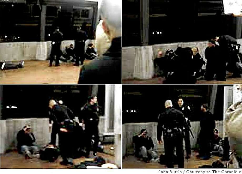 This composite image, made from a cell phone video released by attorney John Burris, shows the moments before and immediately after Johannes Mehserle shot Oscar Grant on the Fruitvale BART station platform on Jan. 1, 2009. (Top left) BART police officers talk to Oscar Grant as he sits against the wall at the Fruitvale station platform. (Top right) Mehserle and another officer place Grant on his stomach. (Bottom left) Mehserle holds his gun after shooting Grant. (Bottom right) Mehserle looks up moments after discharging his weapon. Photo: John Burris, Courtesy To The Chronicle
