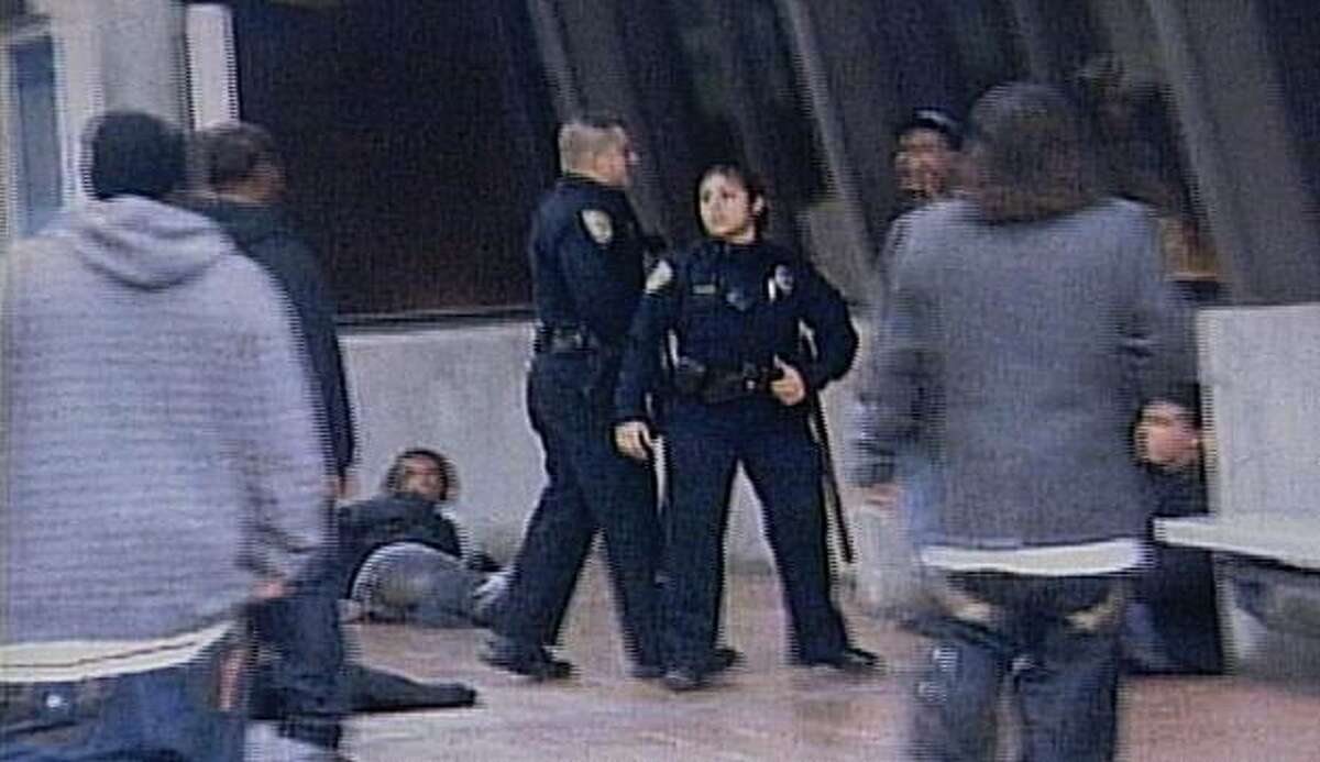 A still image from Karina Vargas' video shows the scene at the Fruitvale BART platform on Jan. 1, 2009 in Oakland, Calif. Moments after this video was taken, two-year BART veteran Johannes Mehserle shot Hayward-resident Oscar Grant.