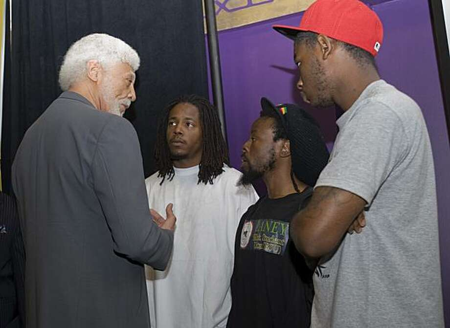 Oakland mayor Ron Dellums (left) speaks with members of the Laney College Black Student Union Michael Walker, Jabari Shaw and Jevon Cochrane (from left to right) press conference on Friday, July 2, 2010 in Oakland, Calif., to urge the public to refrain from violence when the Mehserle verdict is revealed in Los Angeles. Photo: Chad Ziemendorf, The Chronicle