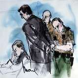 In this artist's sketch, former BART police officer Johannes Mehserle, center, is taken into custody as his attorney Michael Rains, left, reacts after the verdict of guilty of involuntary manslaughter in the killing of Oscar Grant on an Oakland train station, at the Criminal Justice Center in Los Angeles Thursday, July 8, 2010.