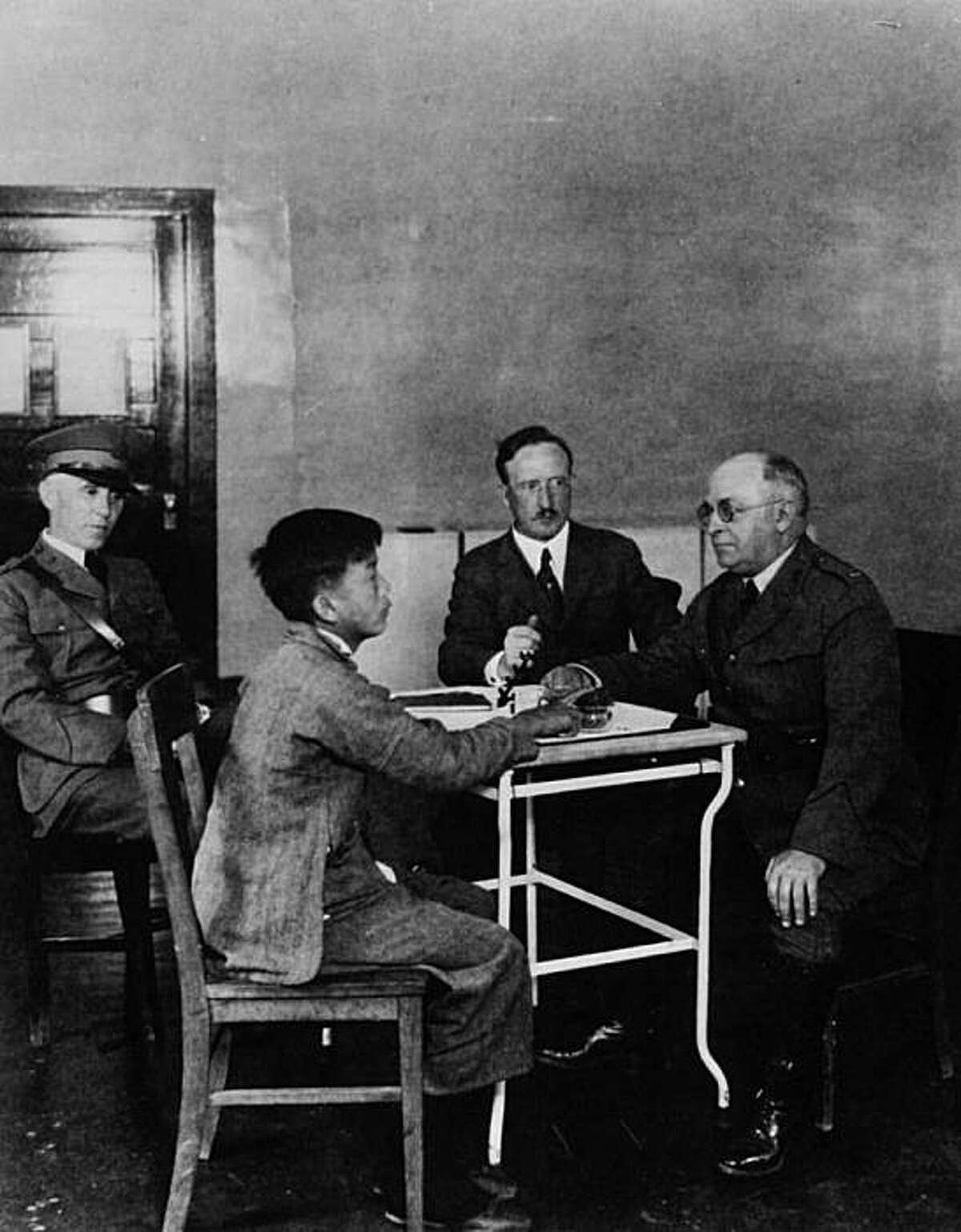 A detainee interrogation at Angel Island.