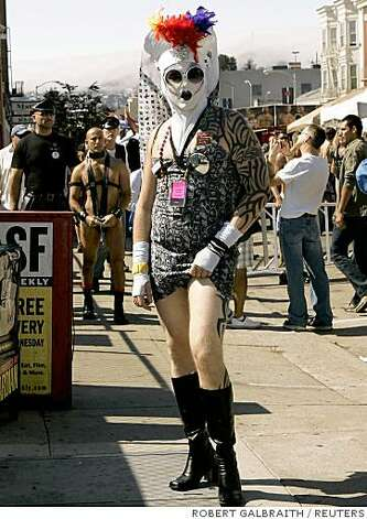A person stands along Folsom Street during the 25th Folsom Street Fair, a leather and fetish event, in San Francisco, California September 28, 2008. Photo: ROBERT GALBRAITH, REUTERS