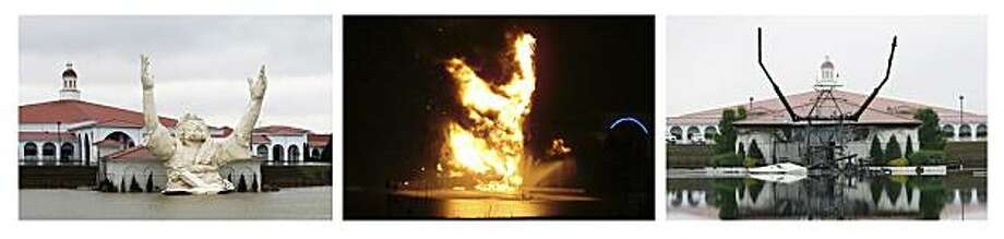 """This combination of photos of the six-story-tall """"King of King's"""" statue of Jesus Christ outside the Solid Rock Church in Monroe, Ohio, shows the statue as it stood on March 19, 2008, left, on fire in the early morning hours of June 15, 2010 after an apparent lightning strike, center, and the remains of the statue on June 15, 2010. (AP Photo/The Dayton Daily News) MANDATORY CREDIT Photo: Nick Graham, Dayton Daily News"""