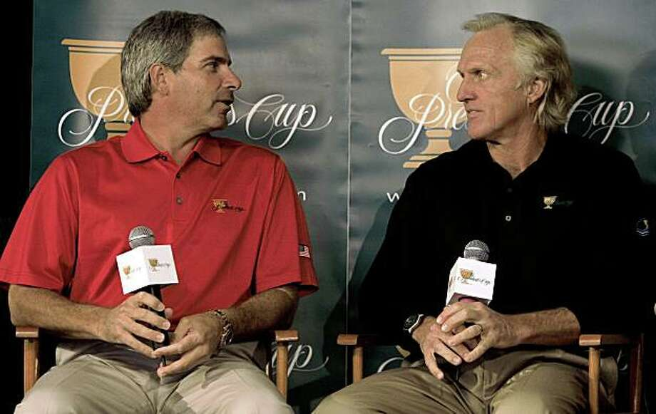 "Fred Couples (left) and Greg Norman are team captains for the USA and International teams respectively, for the President's Cup gollf tournament that will be played at Harding Park Golf Course in San Francisco in October 2009. They talk with the media on ""Captain's Day"" at Harding Park in San Francisco, Calif. on Wednesday Oct. 8, 2008. Photo: Michael Macor, The Chronicle"