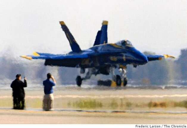 The U.S. Navy's precision flight demonstration team, the Blue Angels arrived in formation, at San Francisco International Airport on Monday, October 6, 2008. Photo: Frederic Larson, The Chronicle