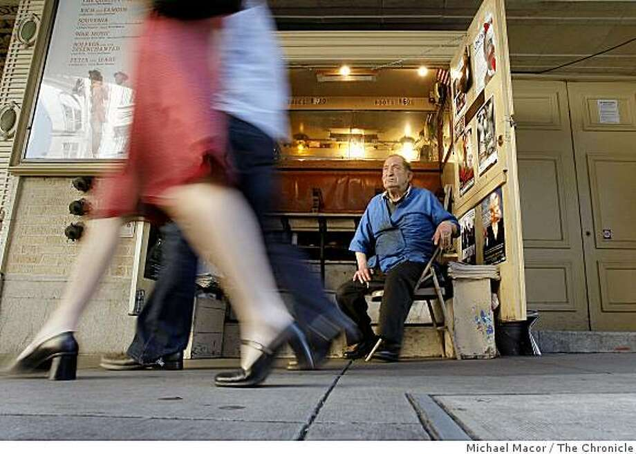 Joe Azzolini, in front of his shoe shine stand, on Saturday Oct. 4, 2008, which has operated for the past 38 years in front of the Geary Theater in San Francisco, Calif. Tough economic times have slowed his daily business of shining shoes. Photo: Michael Macor, The Chronicle