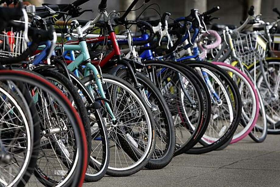 Dozens of bicycles are lined up in front of City Hall during a ceremony to acknowledge Bike to Work Day in San Francisco, Calif., on Thursday, May 13, 2010. Photo: Paul Chinn, The Chronicle