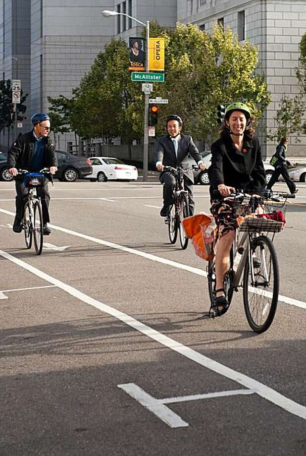 Tom Nolan, David Chiu, and Leah arrive at City Hall as part of Bike to Work Day 2009. Photo: San Francisco Bicycle Coalition