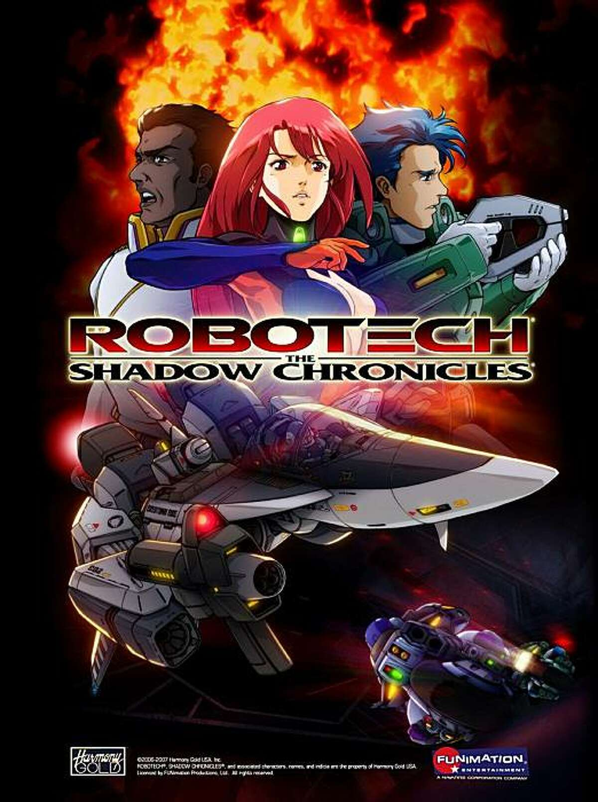 """Cover image from the recent Blu-ray release of """"Robotech: The Shadow Chronicles,"""" featuring (from left to right) Vince Grant, Ariel, and Scott Bernard."""