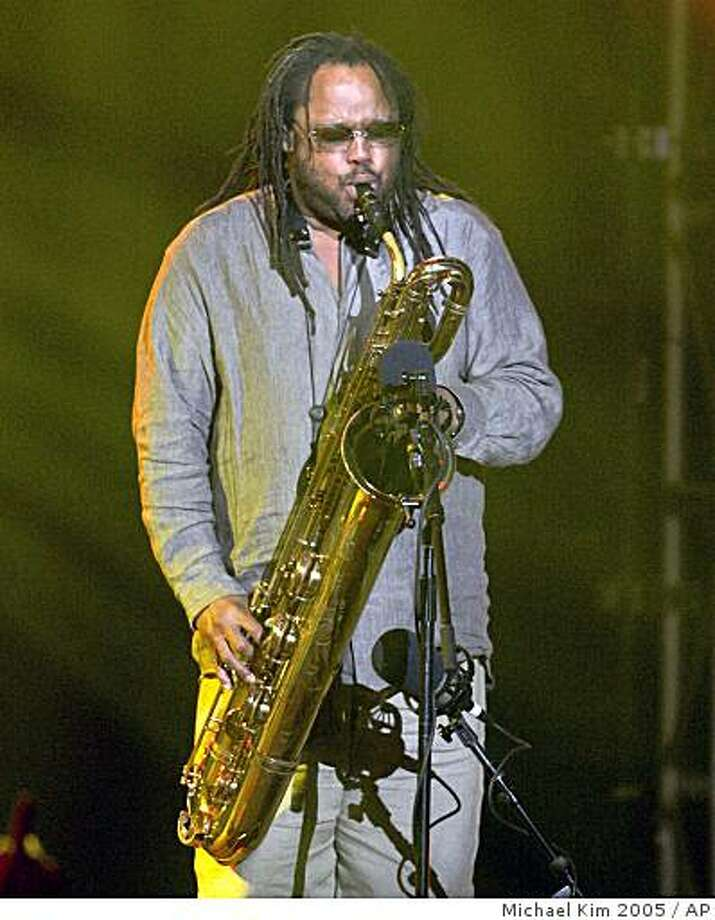 ** FILE ** In this Monday, May 9, 2005 file photo, LeRoi Moore of the Dave Matthews Band performs with the band at New York's Roseland Ballroom. Moore is recovering from an ATV accident on his Virginia farm. According to the band's Web site, Moore was taken to the University of Virginia Health System for treatment after the Monday, June 30, 2008 wreck in Charlottesville. A publicist for the Dave Matthews Band said on Tuesday Aug. 19, 2008 that sax player LeRoi Moore died Tuesday, of injuries suffered in the June accident, at Hollywood Presbyterian Medical Center in Los Angeles. Moore was 46.  (AP Photo/Michael Kim, File) Photo: Michael Kim 2005, AP