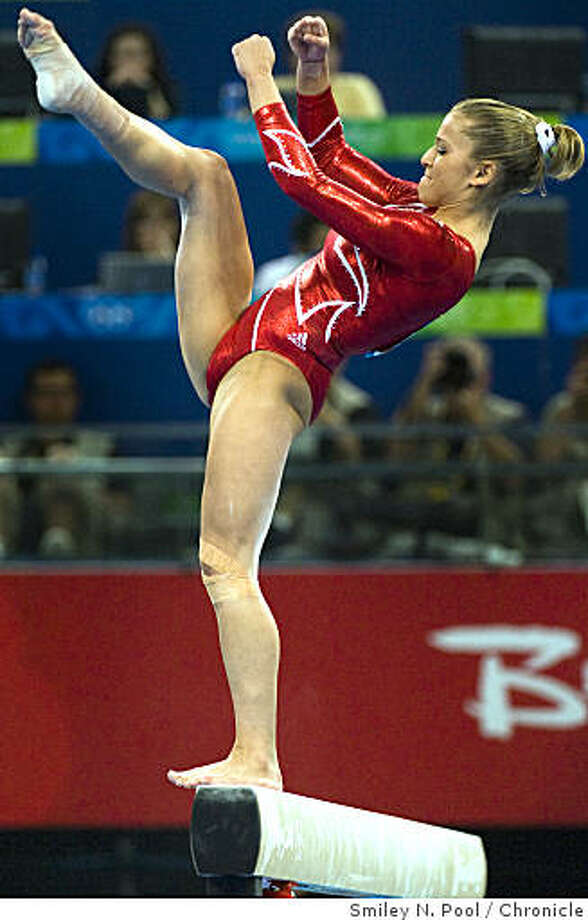 US gymnast Alicia Sacramone of Winchester, Mass. loses her balance and falls from the balance beam during the women's gymnastics team final. Photo: Smiley N. Pool, Chronicle
