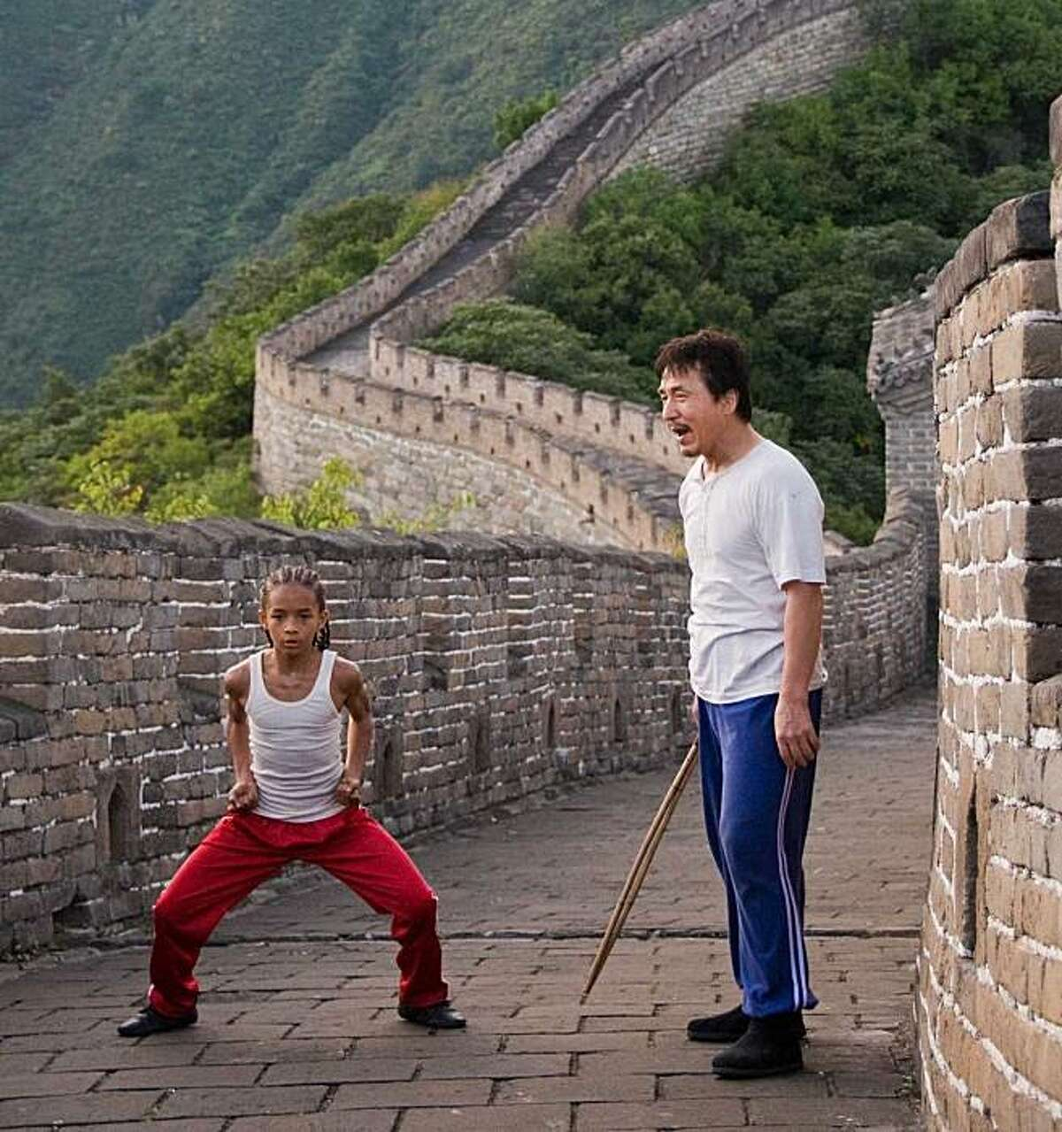 """Jaden Smith as 'Dre' and Jackie Chan as 'Mr. Han' on the Great Wall of China in """"The Karate Kid."""" Jaden Smith as """"Dre"""" and Jackie Chan as """"Mr. Han"""" on the Great Wall of China in Columbia Pictures' KARATE KID."""